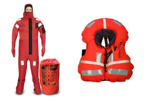 IMMERSION SUIT AND LIFE JACKET